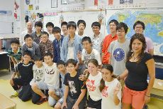 Japanese exchange students in calssroom with a teacher