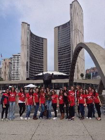 international students from Brazil at city hall toronto Canada