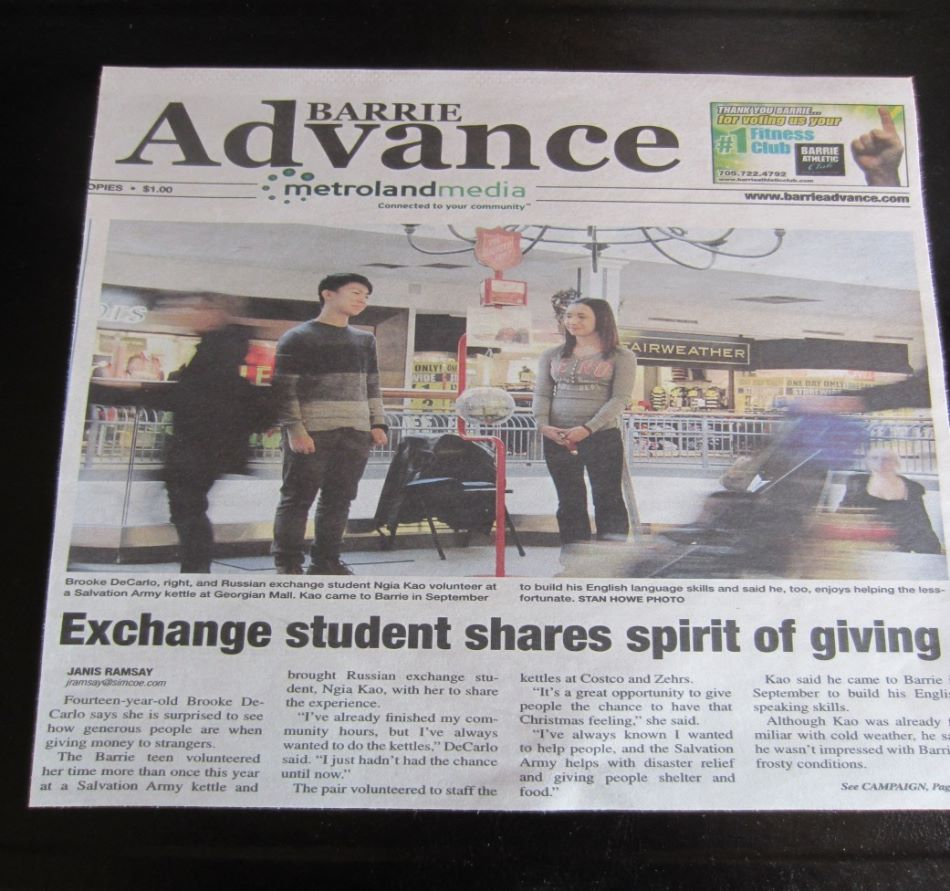 Exchange student shares spirit of giving