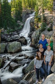host family waterfalls with international students